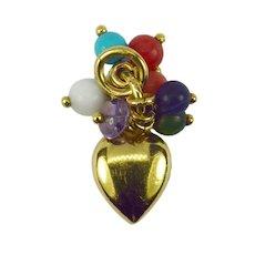 18K Yellow Gold Heart Gem Tassel Charm Pendant