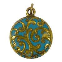 Yellow Gold Blue Enamel Mourning Locket Charm Pendant
