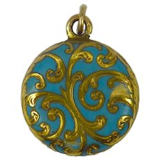 Yellow Gold Blue Enamel Mourning Locket Charm Pendant