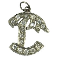 Platinum White Diamond Palm Tree Charm Pendant
