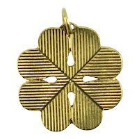 18K Yellow Gold Large Engraved Four Leaved Clover or Shamrock Charm Pendant