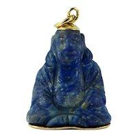18K Yellow Gold Blue Lapis Lazuli Buddha Large Charm Pendant