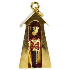 18K Yellow Gold Enamel British Royal Guard Hut Charm Pendant