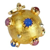 18K Yellow Gold Paste Gem Sputnik Sphere Charm Pendant