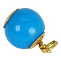 18K Yellow Gold Blue Paste Sphere Charm Pendant