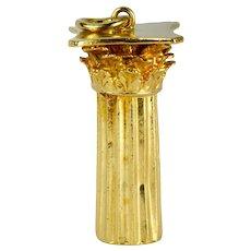18K Yellow Gold Roman Corinthian Column Charm Pendant