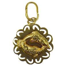 Italian 18K Yellow Gold Zodiac Pisces Charm Pendant