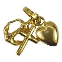 18K Yellow Gold Faith Hope Love Charm Pendant