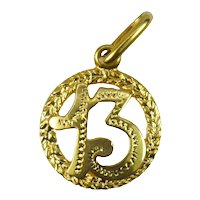 Italian 18K Yellow Gold Lucky 13 Charm Pendant