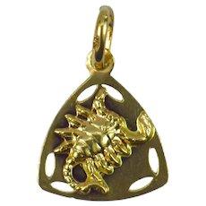Italian 18K Yellow Gold Zodiac Scorpio Charm Pendant