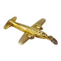 9K Yellow Gold Airplane Charm Pendant