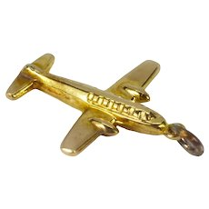 9K Yellow Gold Airplane Charm Pendant
