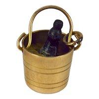 Georg Jensen 9K Yellow Gold Champagne Bucket Charm Pendant