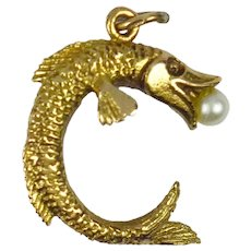 9K Yellow Gold Pearl Fish Charm Pendant