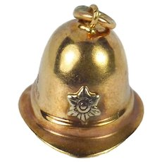 9K Rose White Gold Policeman's Hat Charm Pendant