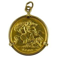 22K Yellow Gold 1909 Edward VII Half Sovereign Charm Pendant