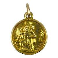 9K Yellow Gold St Christopher Charm Pendant
