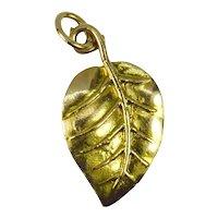 9K Yellow Rose Gold Leaf Charm Pendant