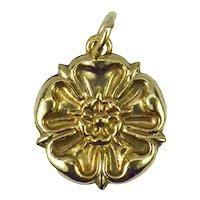 9K Rose Gold Tudor Rose Charm Pendant