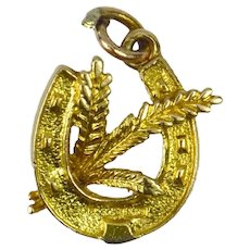 9K Yellow Gold Horseshoe Wheat Charm Pendant