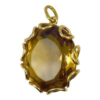 9K Yellow Gold Citrine Pendant