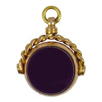9K Yellow Gold Bloodstone and Carnelian Spinning Fob Charm Pendant