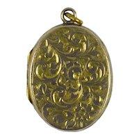 9K Yellow Gold Edwardian Oval Locket Charm Pendant
