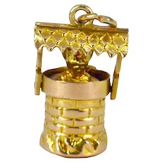 9K Yellow Gold Devil in Wishing Well Charm Pendant