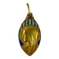 French 18K Yellow Gold Enamel Virgin Mary Navette Charm Pendant