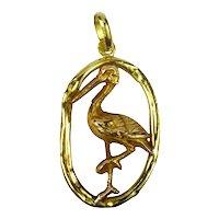 French 18K Yellow Rose Gold Stork Charm Pendant