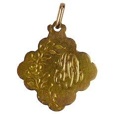 French 18K Yellow Gold AD Initials Monogram Charm Pendant