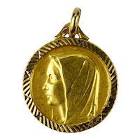 French 18K Yellow Gold Virgin Mary Charm Pendant Medal