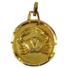French 18K Yellow Gold Zodiac Cancer Crab Charm Pendant