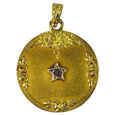 French 18K Yellow Gold Rose Cut Diamond Lucky Star Charm Pendant