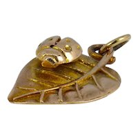 9K Yellow Gold Leaf and Ladybird Charm Pendant