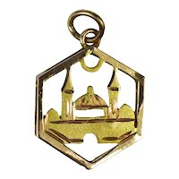 14K Yellow and Rose Gold Mosque Charm Pendant