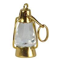 18K Yellow Gold Paste Lantern Charm Pendant