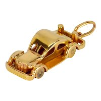 18K Yellow Gold Saloon Car Charm Pendant