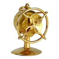 18K Yellow Gold Mechanical Desk Fan Charm Pendant