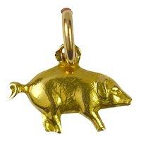18K Yellow Gold Pig Charm Pendant