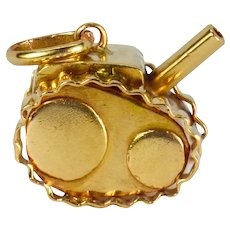 18K Yellow Gold Military Tank Charm Pendant