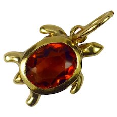 18K Yellow Gold Orange Citrine Turtle Charm Pendant