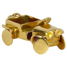 18K Yellow Gold Jeep Car Charm Pendant