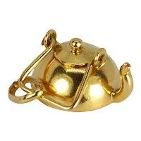 18K Yellow Gold Teapot Charm Pendant