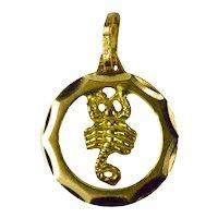 Vintage 18K Yellow Gold Scorpio Zodiac Charm Pendant