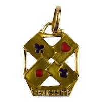 French 18K Yellow Gold Enamel 'Reussite' Aces Gambling Cards Charm Pendant