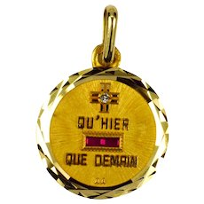 Augis French More Than Yesterday Diamond Ruby 18K Yellow Gold Love Charm Pendant