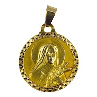 French 18K Yellow Gold Saint Therese Charm Pendant