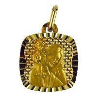 French 18K Yellow Gold Saint Christopher Charm Pendant