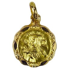 Italian 18K Yellow Rose Gold Saint Rita Charm Pendant